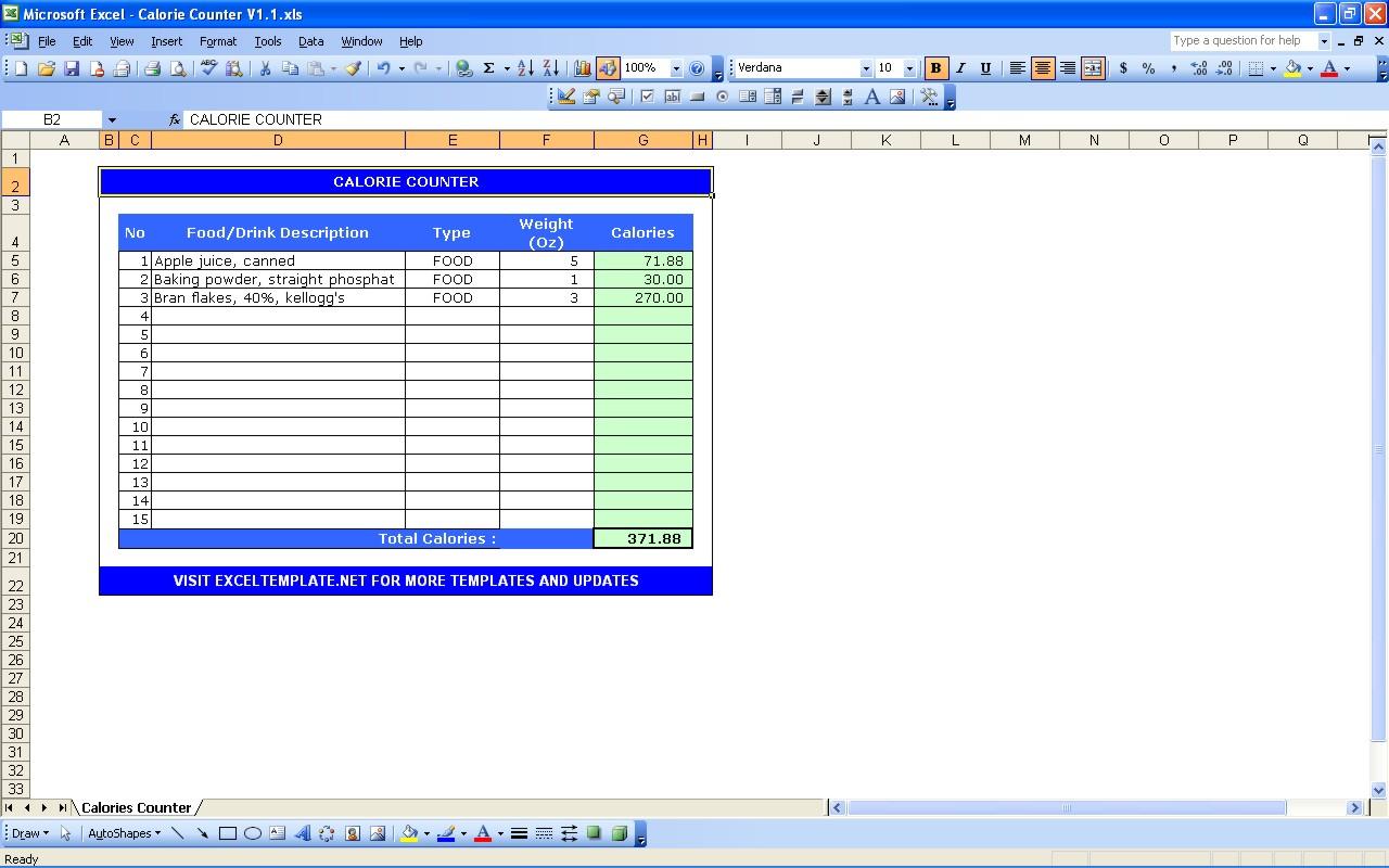 Calorie Spreadsheet Template In Calorie Counter Calculator