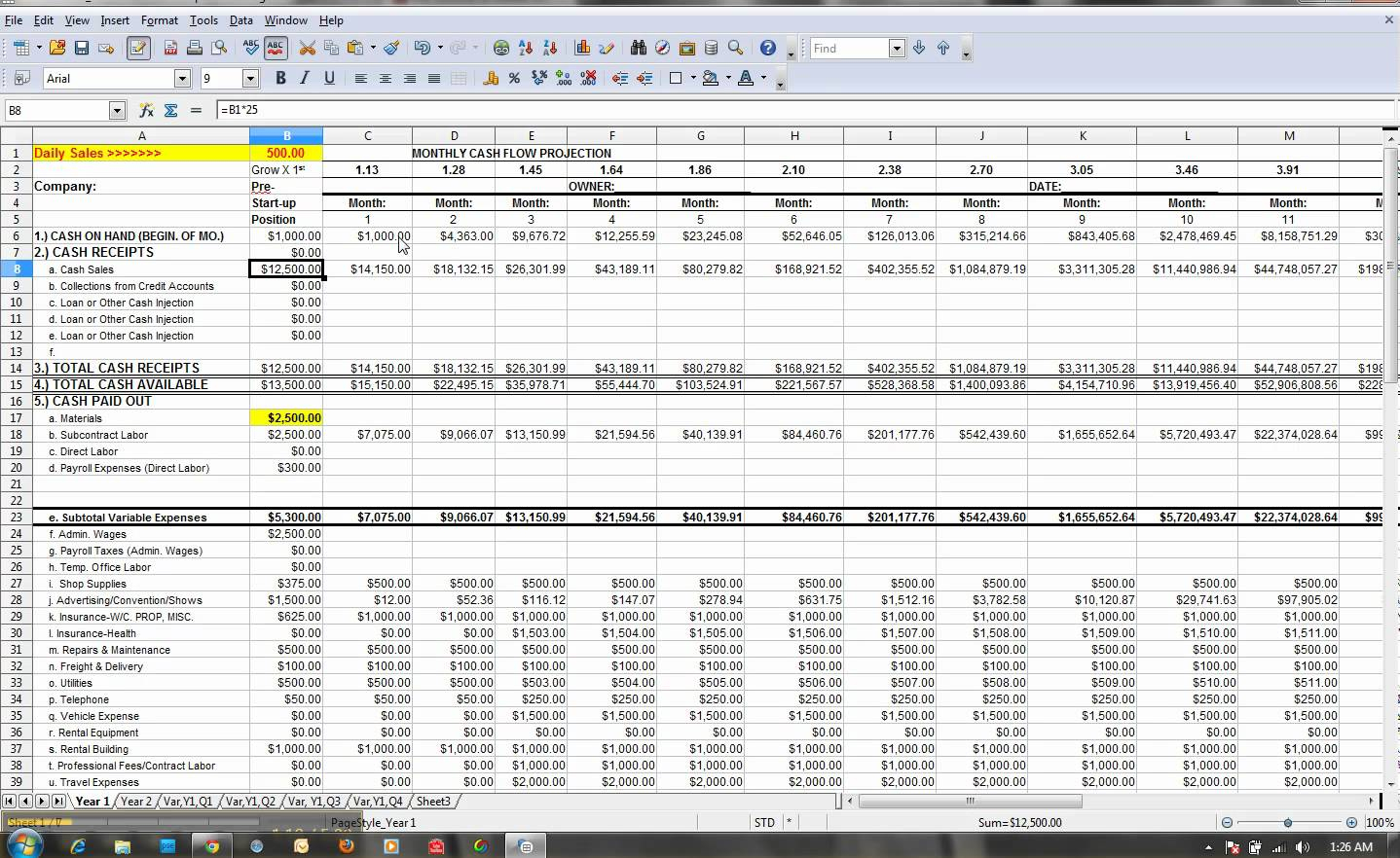Cash Flow Projection Spreadsheet Spreadshee Cash