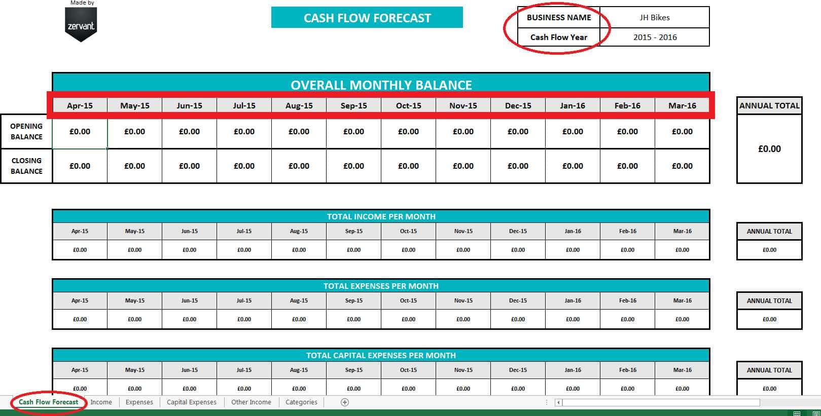 Cash Flow Projection Spreadsheet Within Cash Flow