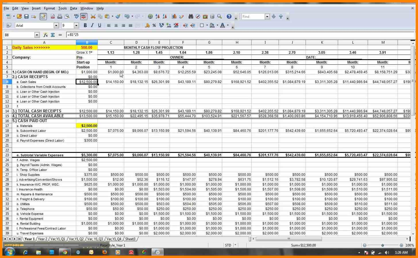 Cash Flow Spreadsheet Example Throughout Financial