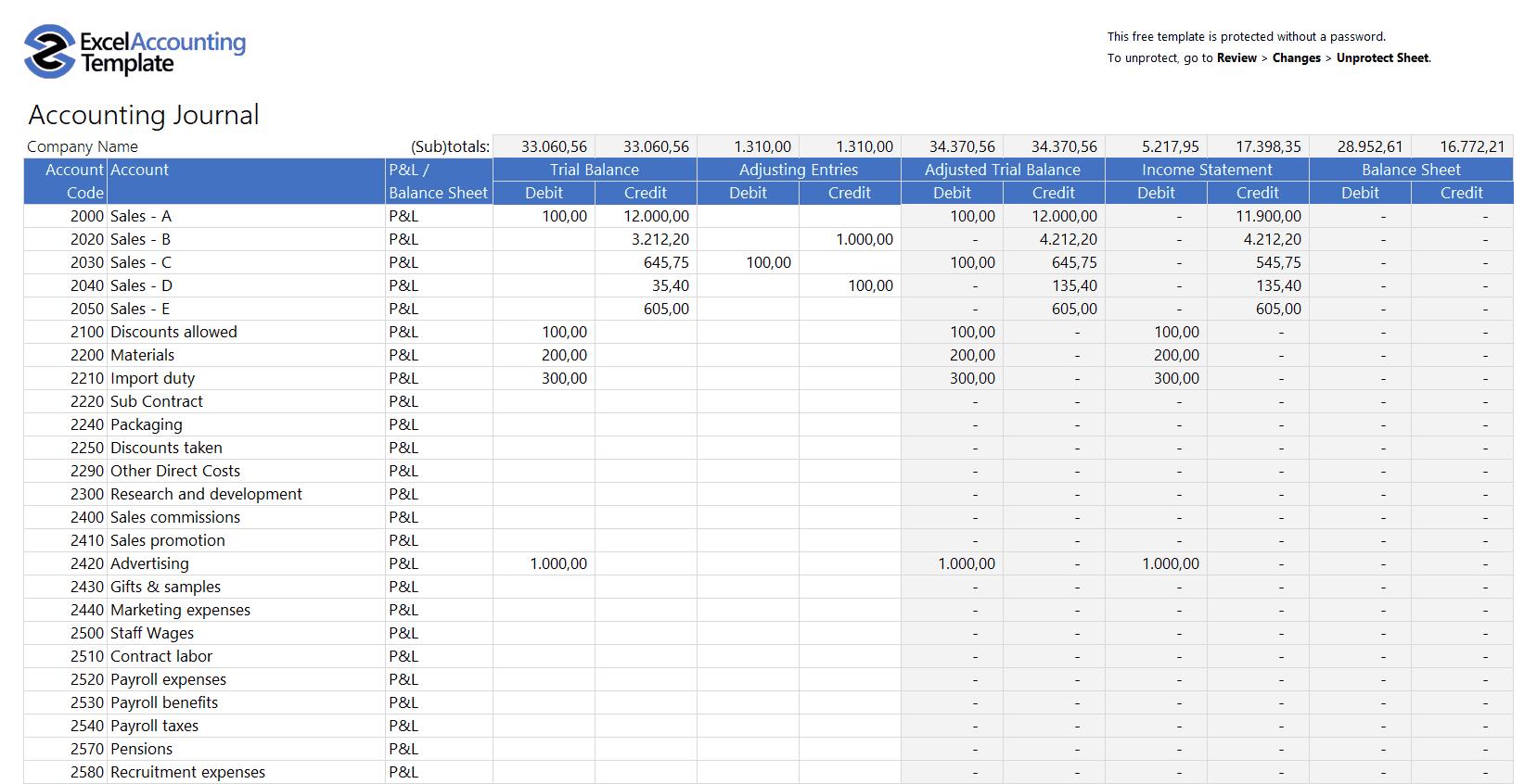 Free Profit And Loss Worksheet