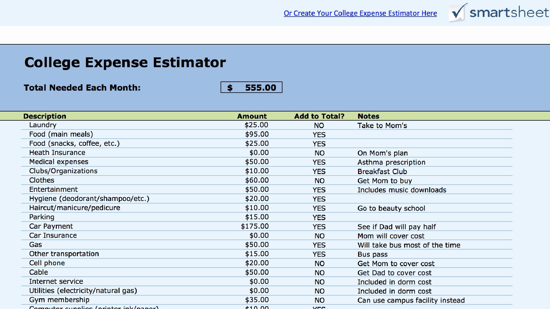 College Comparison Excel Spreadsheet Printable Spreadshee