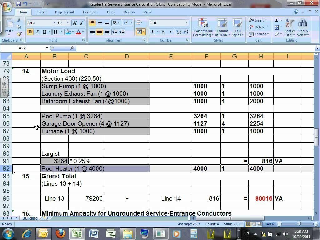 35 Electrical Service Load Calculation Worksheet
