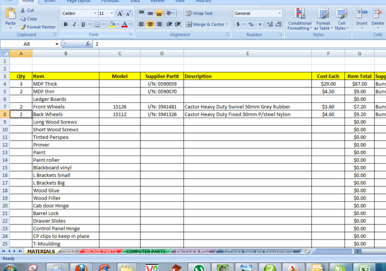 Computer Build Spreadsheet