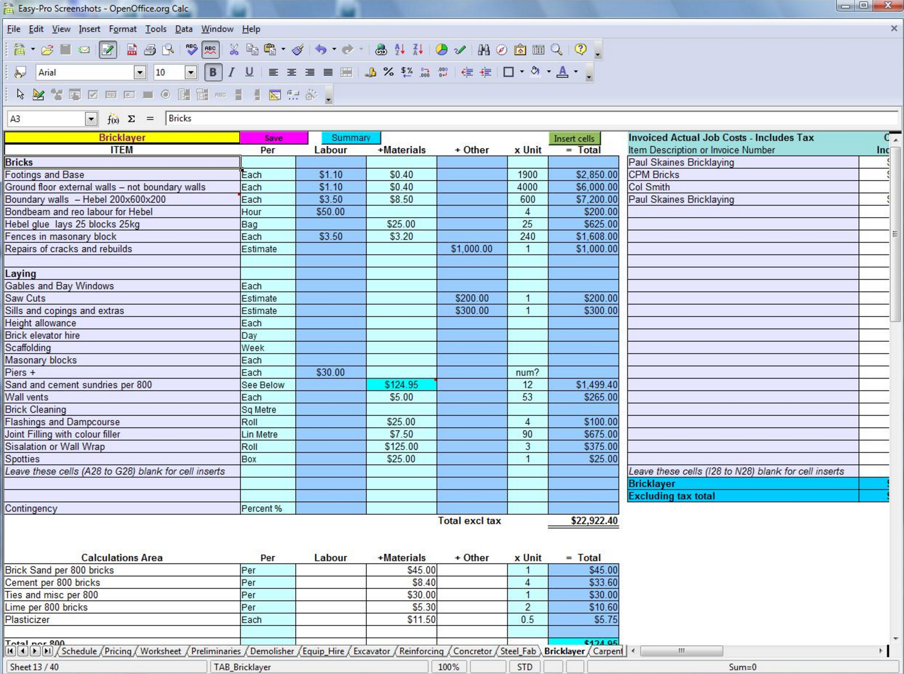 Construction Bid Comparison Spreadsheet Pertaining To 5