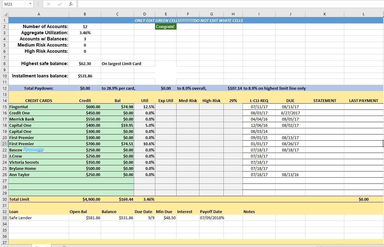 Credit Control Excel Spreadsheet