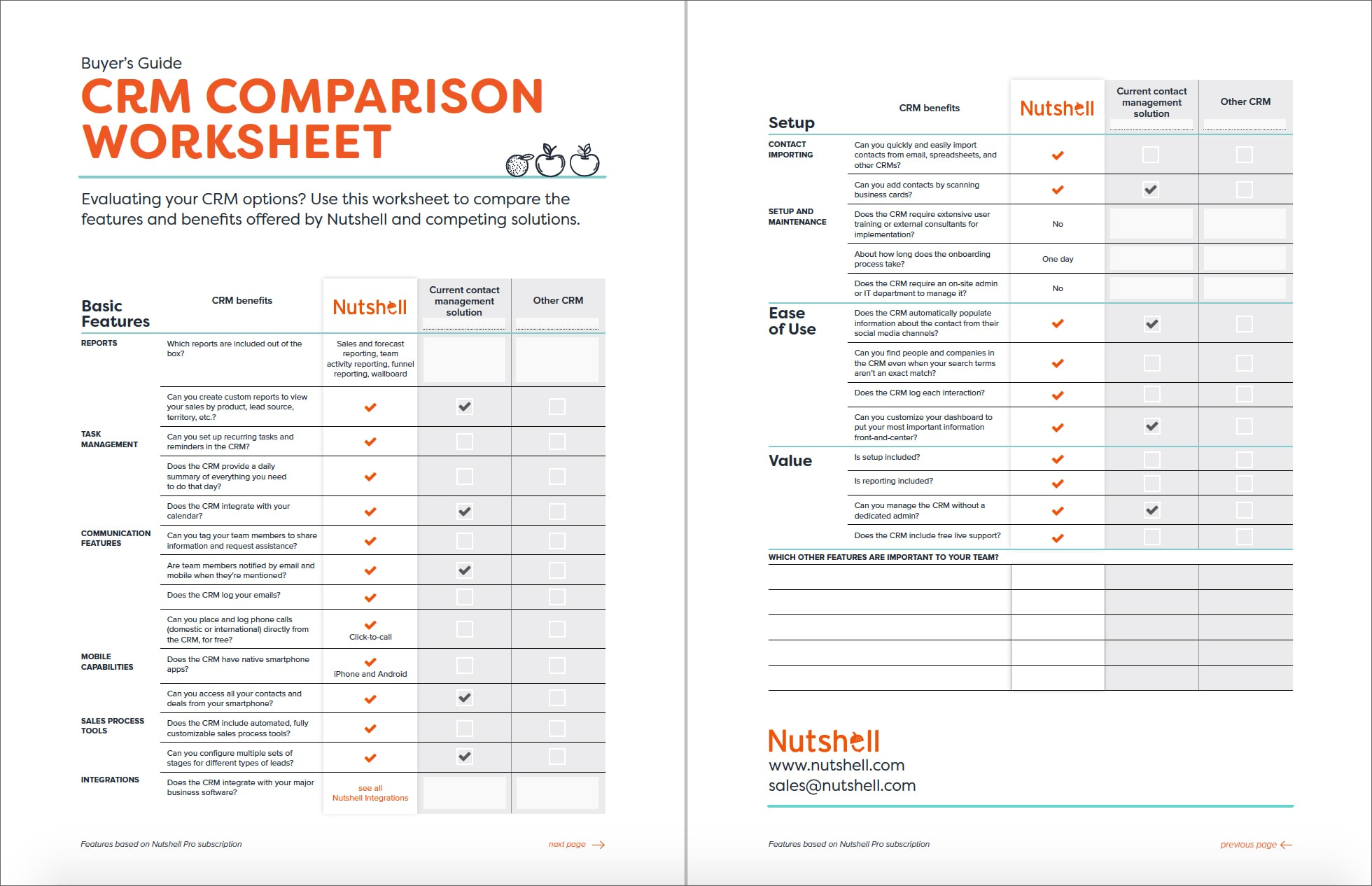 Crm Spreadsheet Inside Crm Comparison Worksheet Nutshell