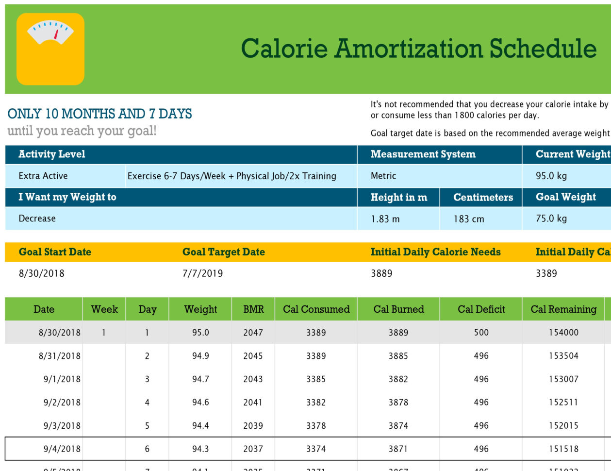 Daily Calories Amp Food Nutrition Excel Spreadsheet Calculator Spreadshee Daily Calories To