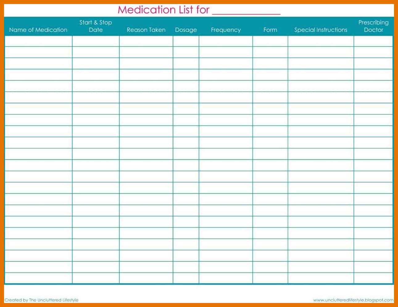 Daily Medication Schedule Spreadsheet In Medication