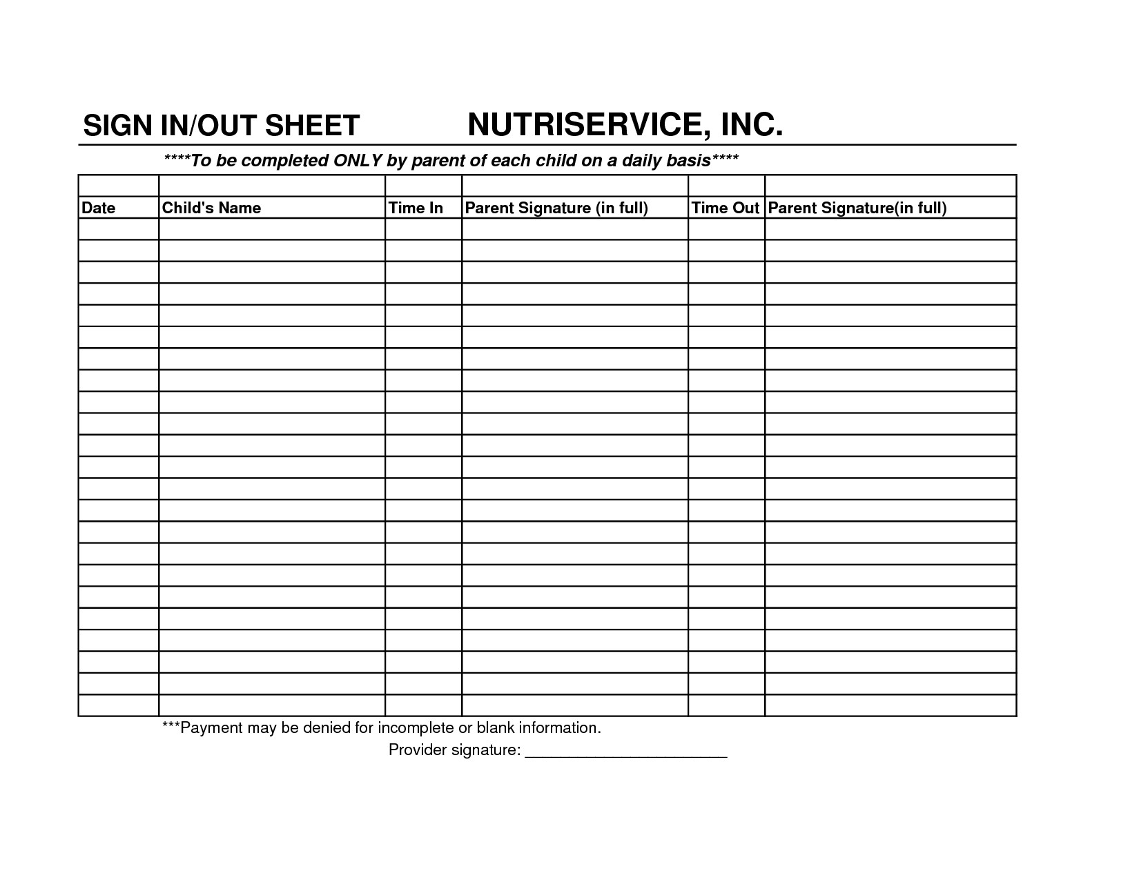 Daycare Payment Spreadsheet Db Excel