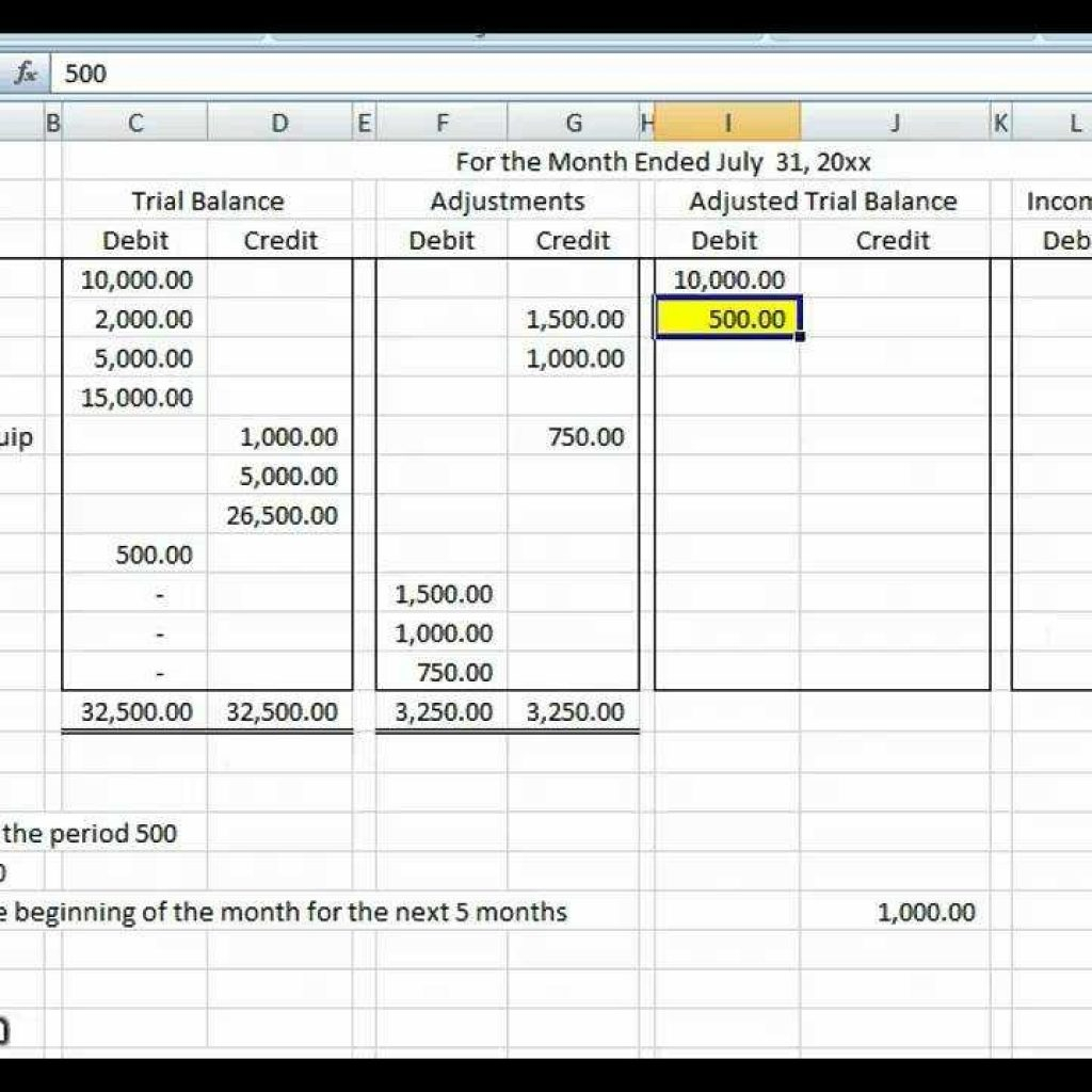 Debit Credit Spreadsheet Within Basic Accounting Worksheet
