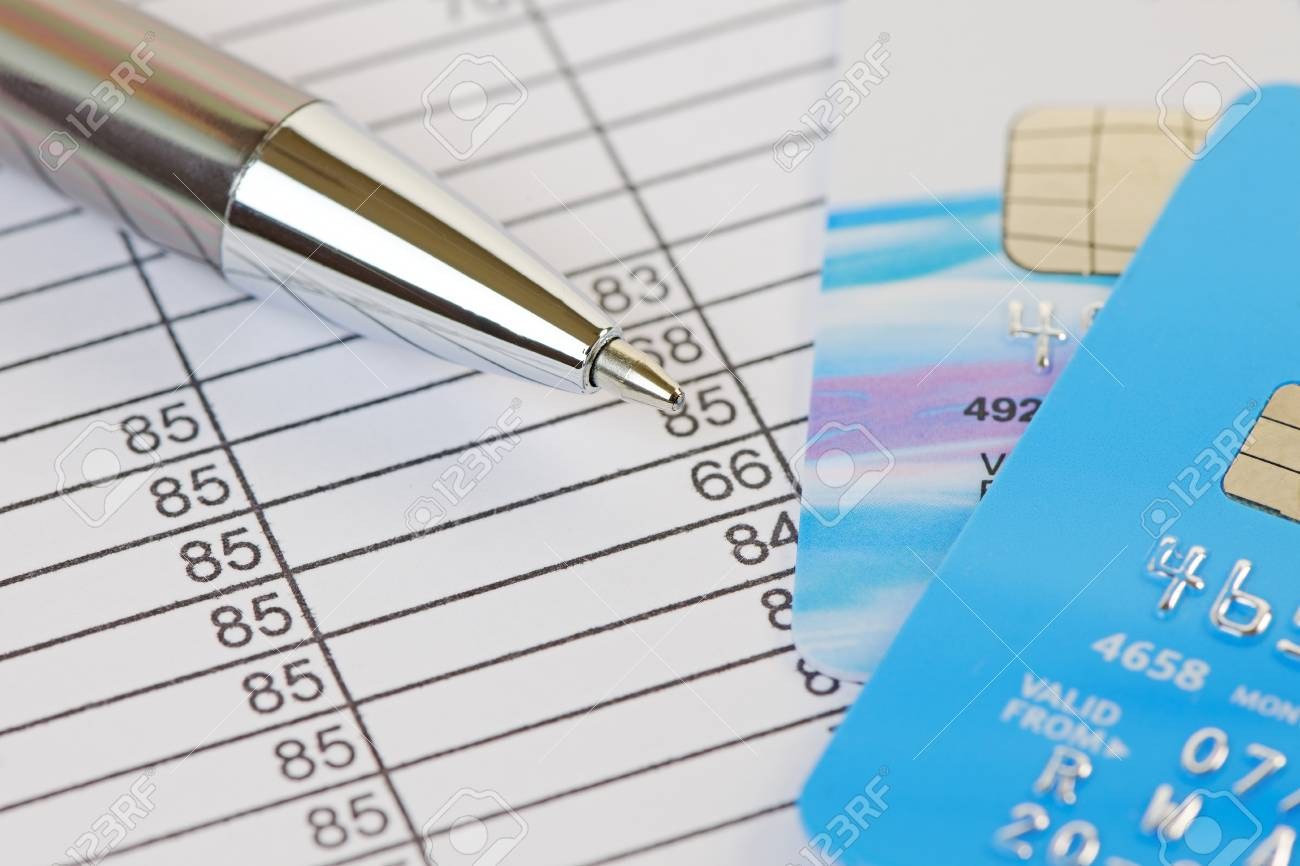 Debit Credit Spreadsheet Within Pen And Credit Cards On A
