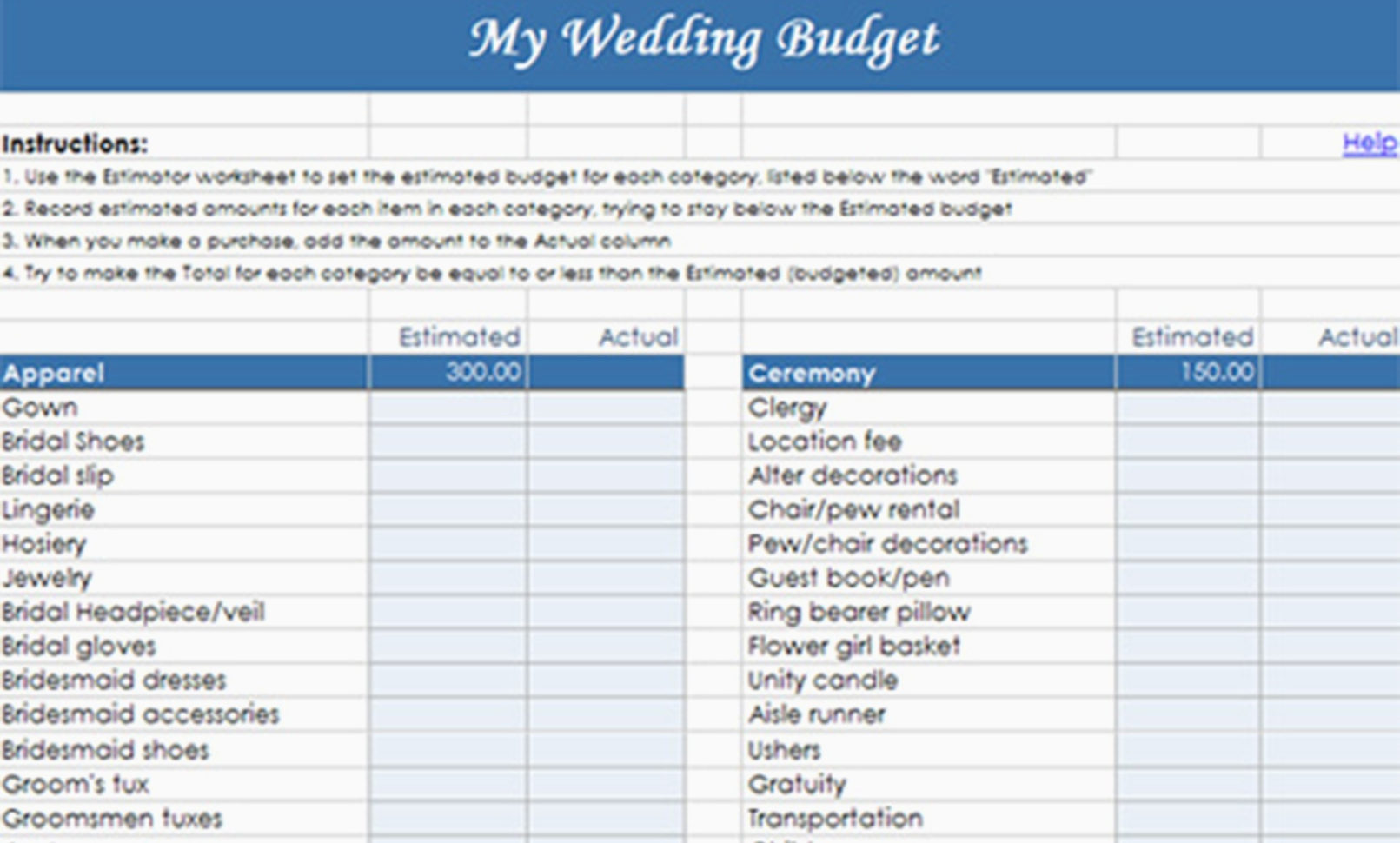 Destination Wedding Budget Spreadsheet With Regard To