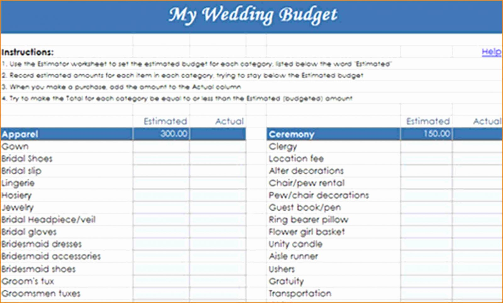 Detailed Wedding Budget Spreadsheet Spreadshee