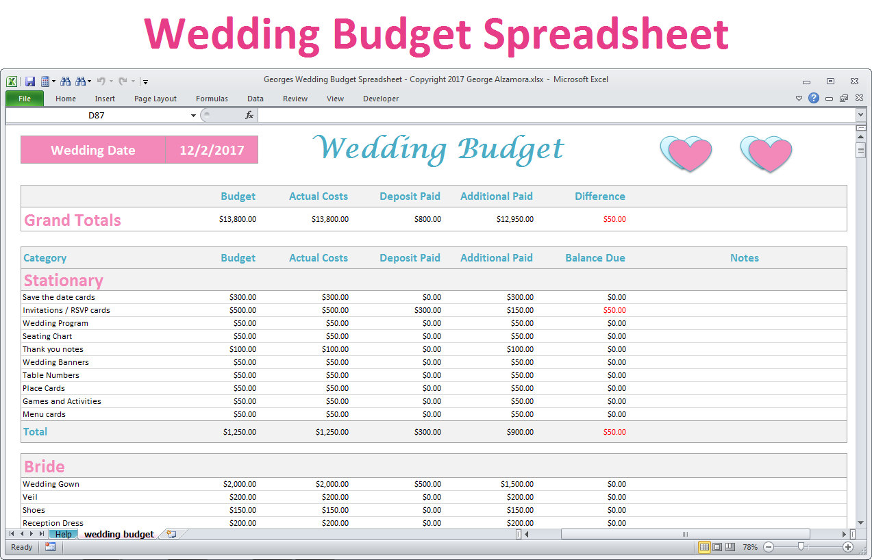 Detailed Wedding Budget Spreadsheet Intended For Wedding