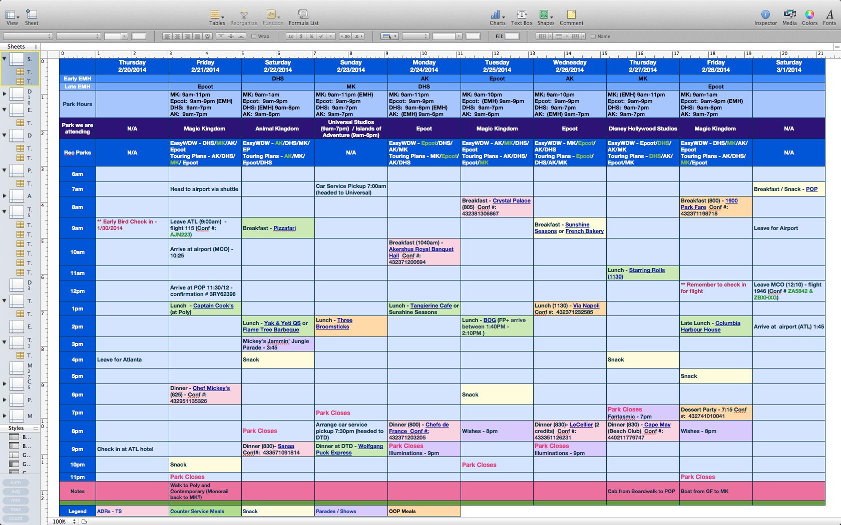 Disney Planning Spreadsheet Db Excel