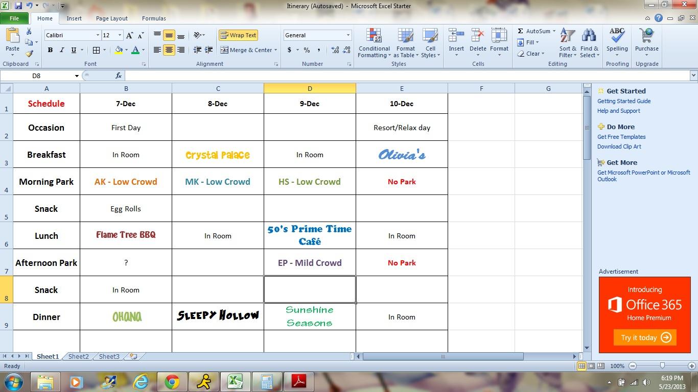 Disney World Day Planner Spreadsheet Spreadshee