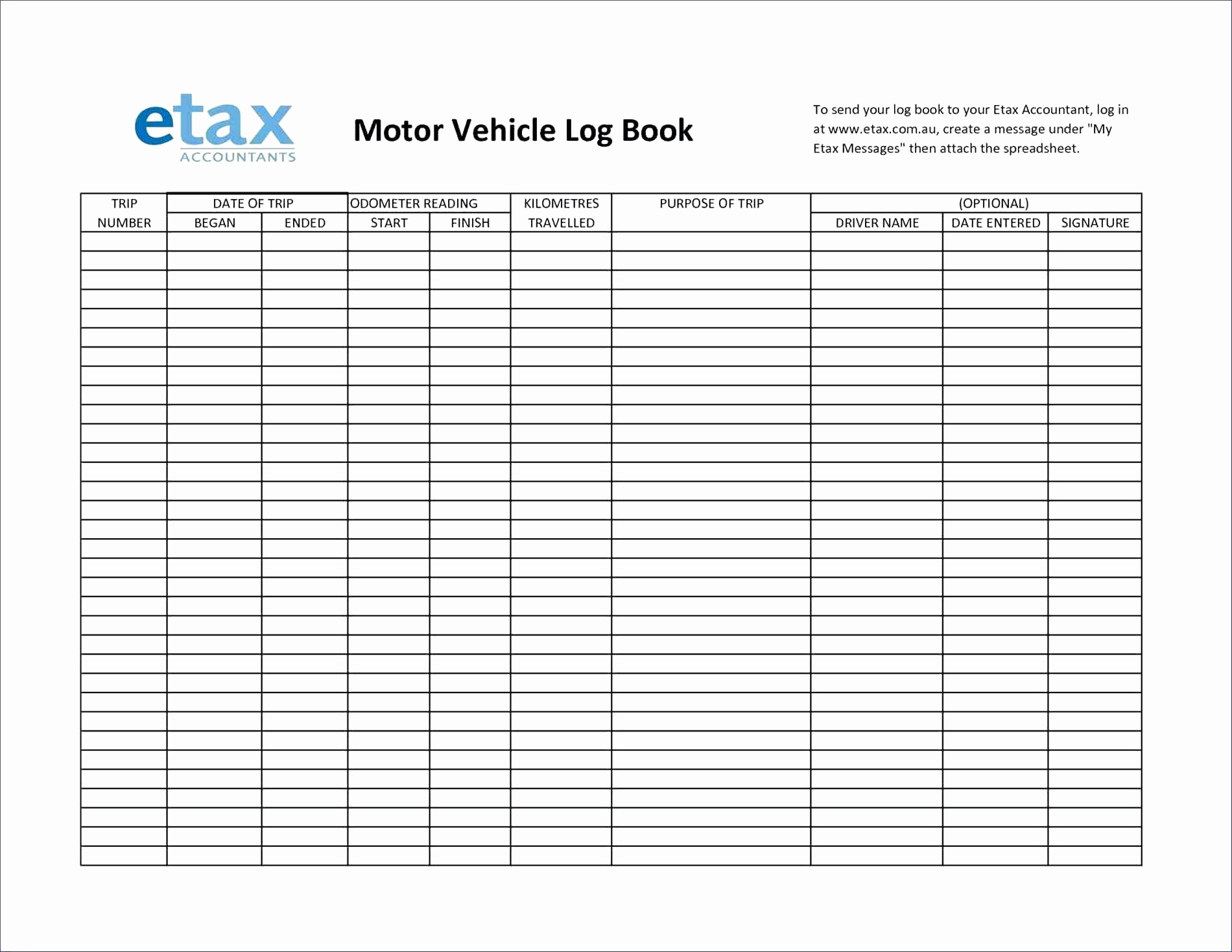 Driver Log Book Auditing Spreadsheet Within Prospect