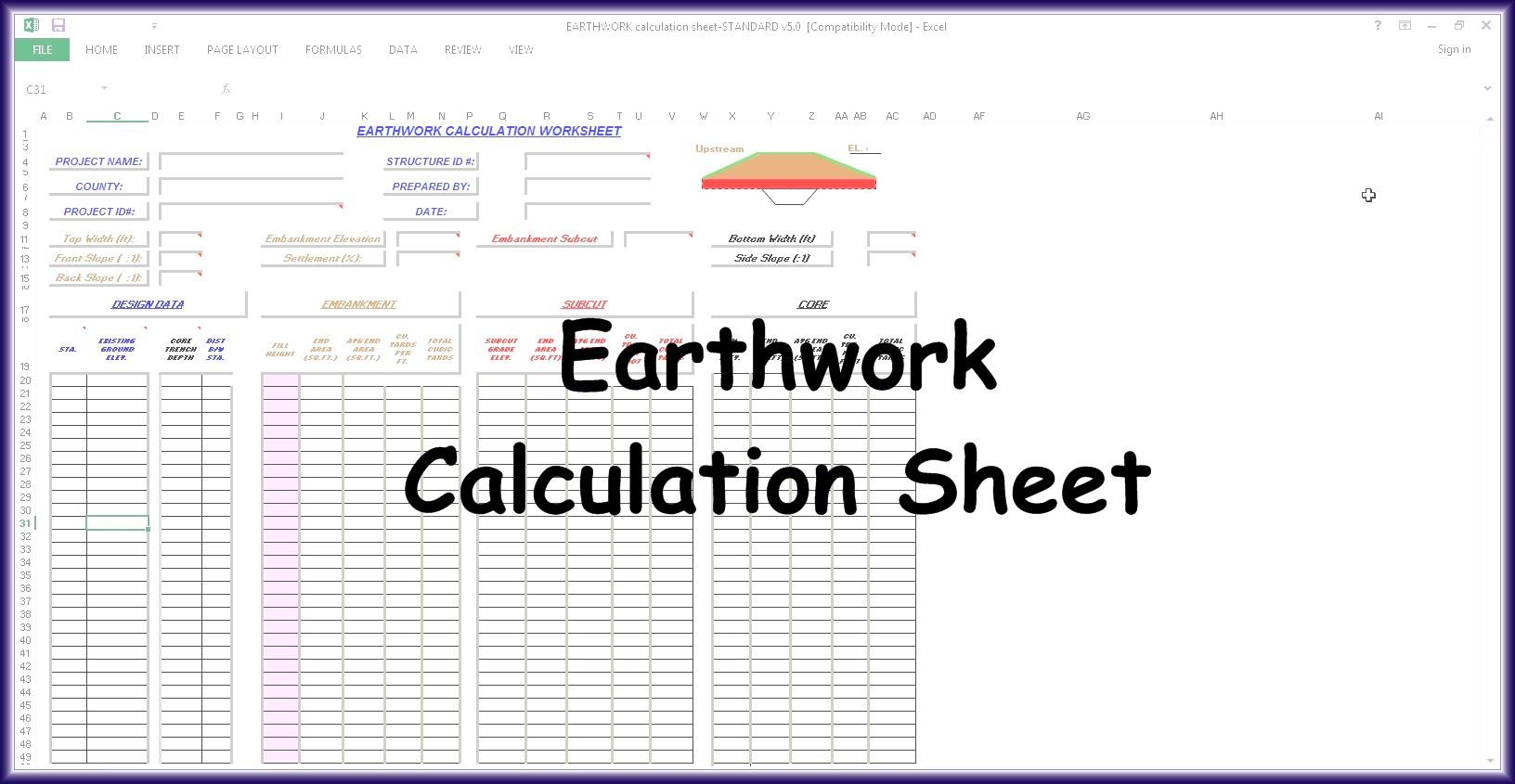Earthwork Calculation Spreadsheet Spreadsheet Downloa Earthwork Calculation Spreadsheet