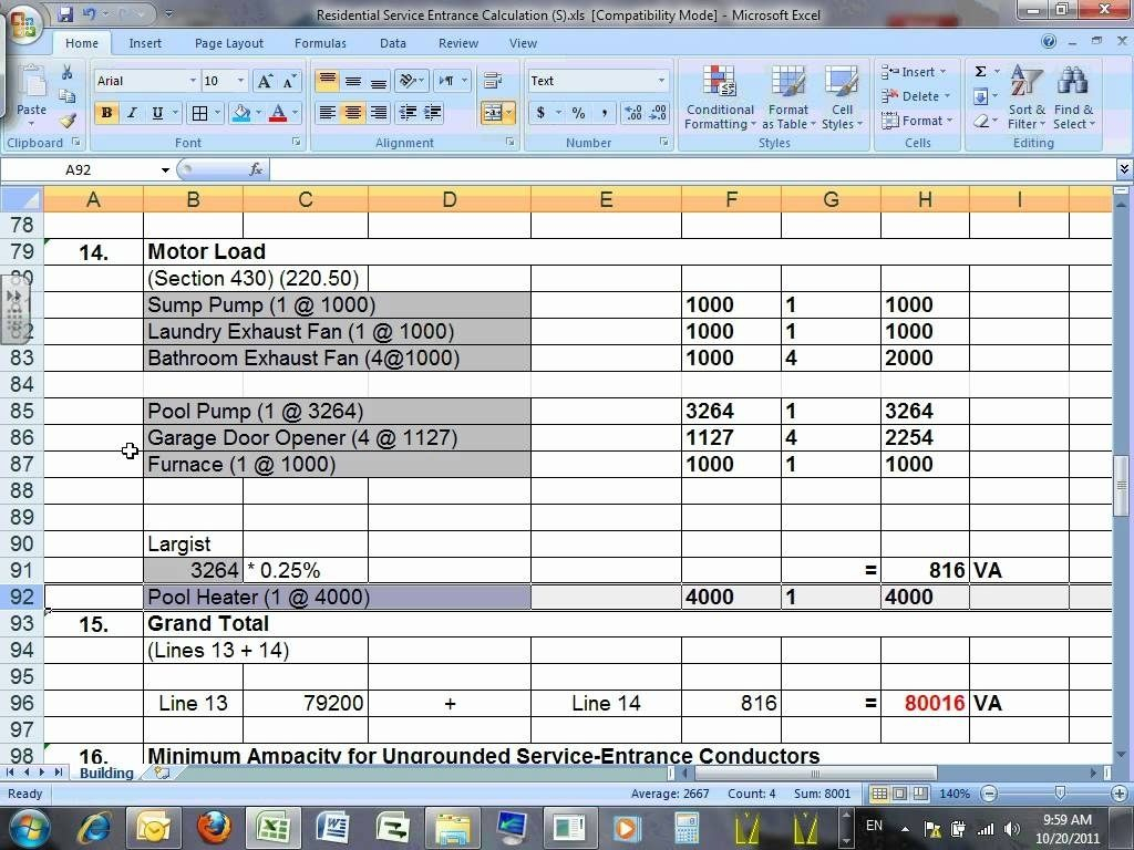 Electrical Spreadsheet Printable Spreadshee Electrical