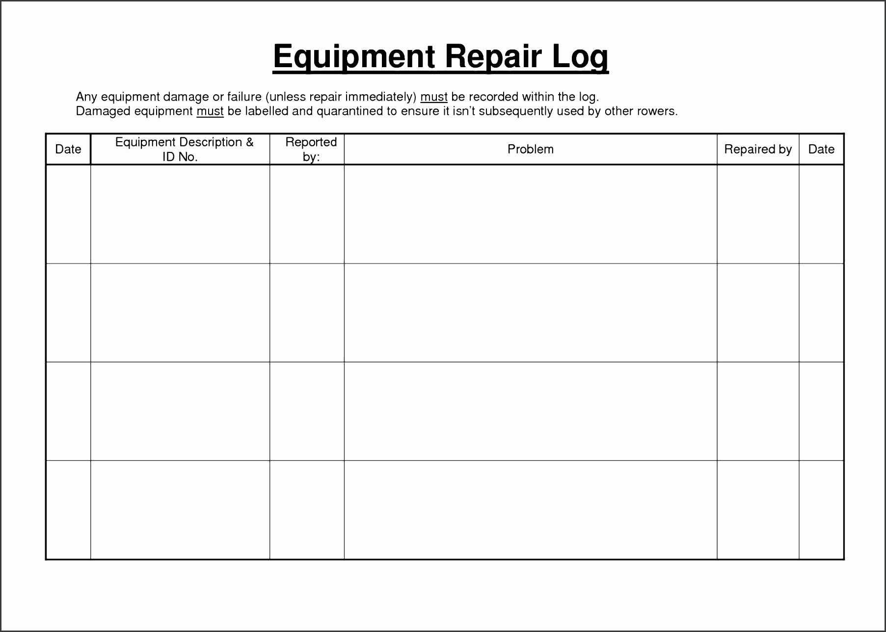 Equipment Maintenance Spreadsheet Within Preventive