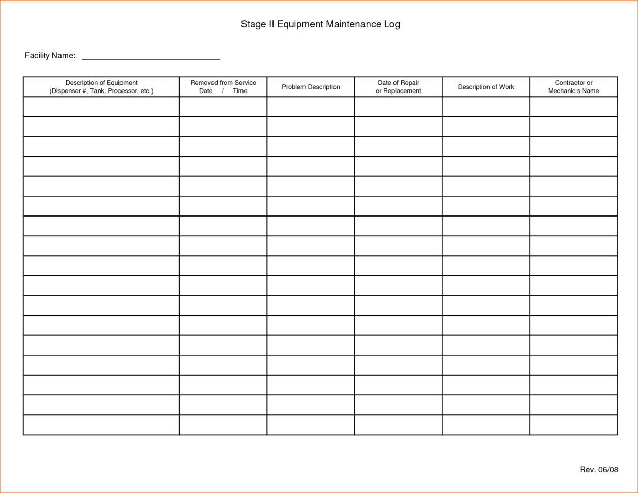 Equipment Maintenance Tracking Spreadsheet Spreadsheet