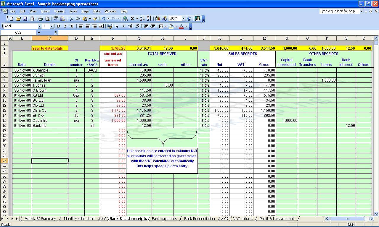 Excel Bookkeeping Spreadsheet Template Spreadshee