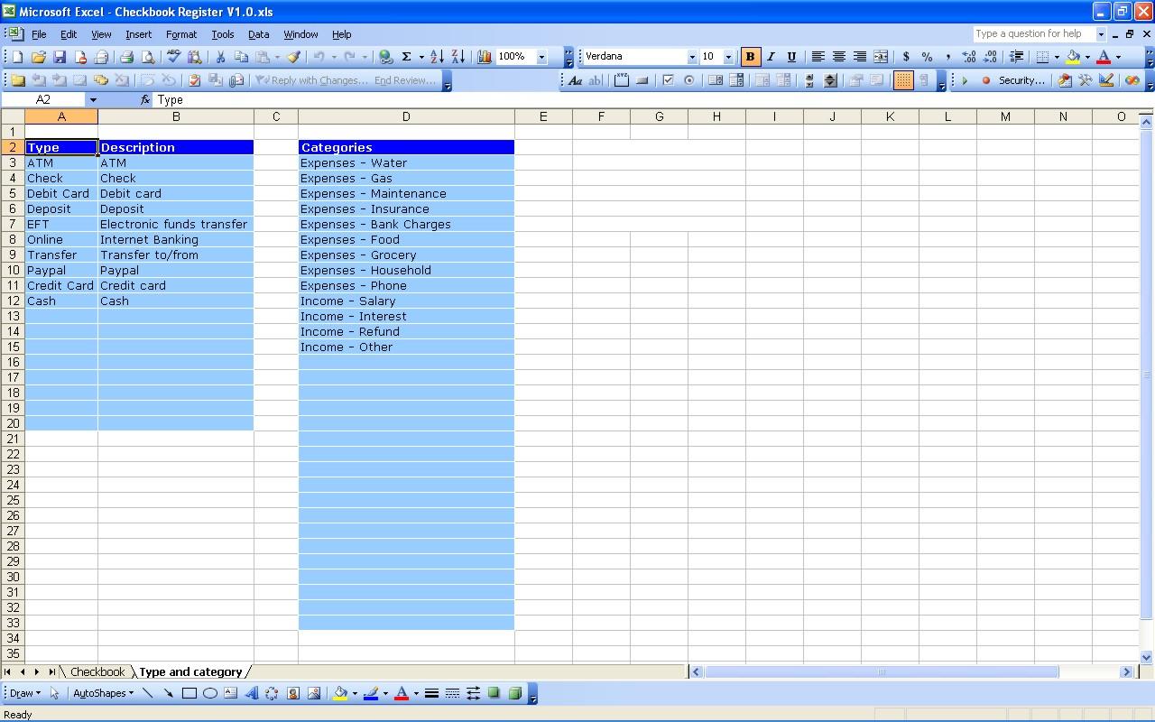 Excel Checkbook Spreadsheetdb Excel Db Excel