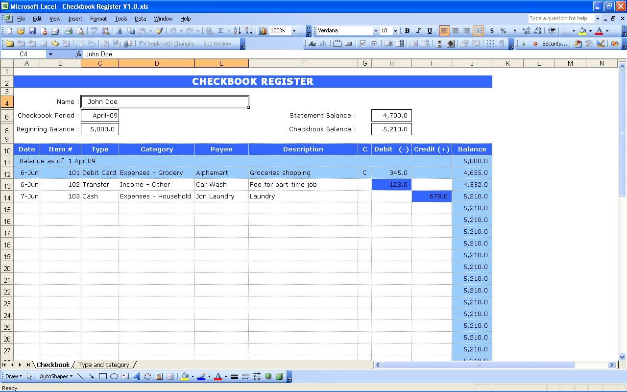 Excel Checkbook Spreadsheet Within 10 Elegant Excel
