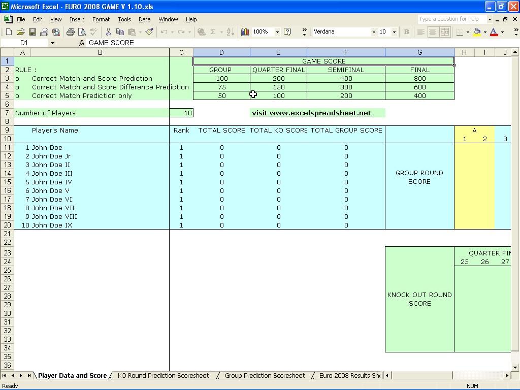 Excel Football Predictions Spreadsheet Printable