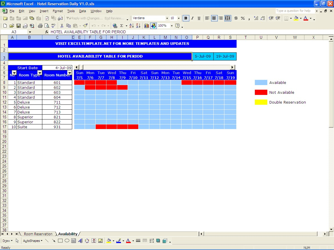 Excel Spreadsheet Booking System Pertaining To Hotel