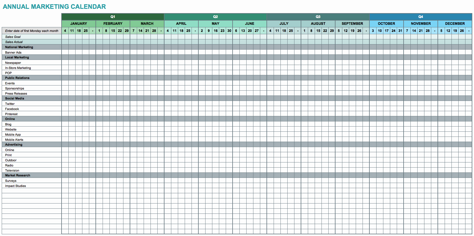 Excel Spreadsheet Calendar Template Within Editable