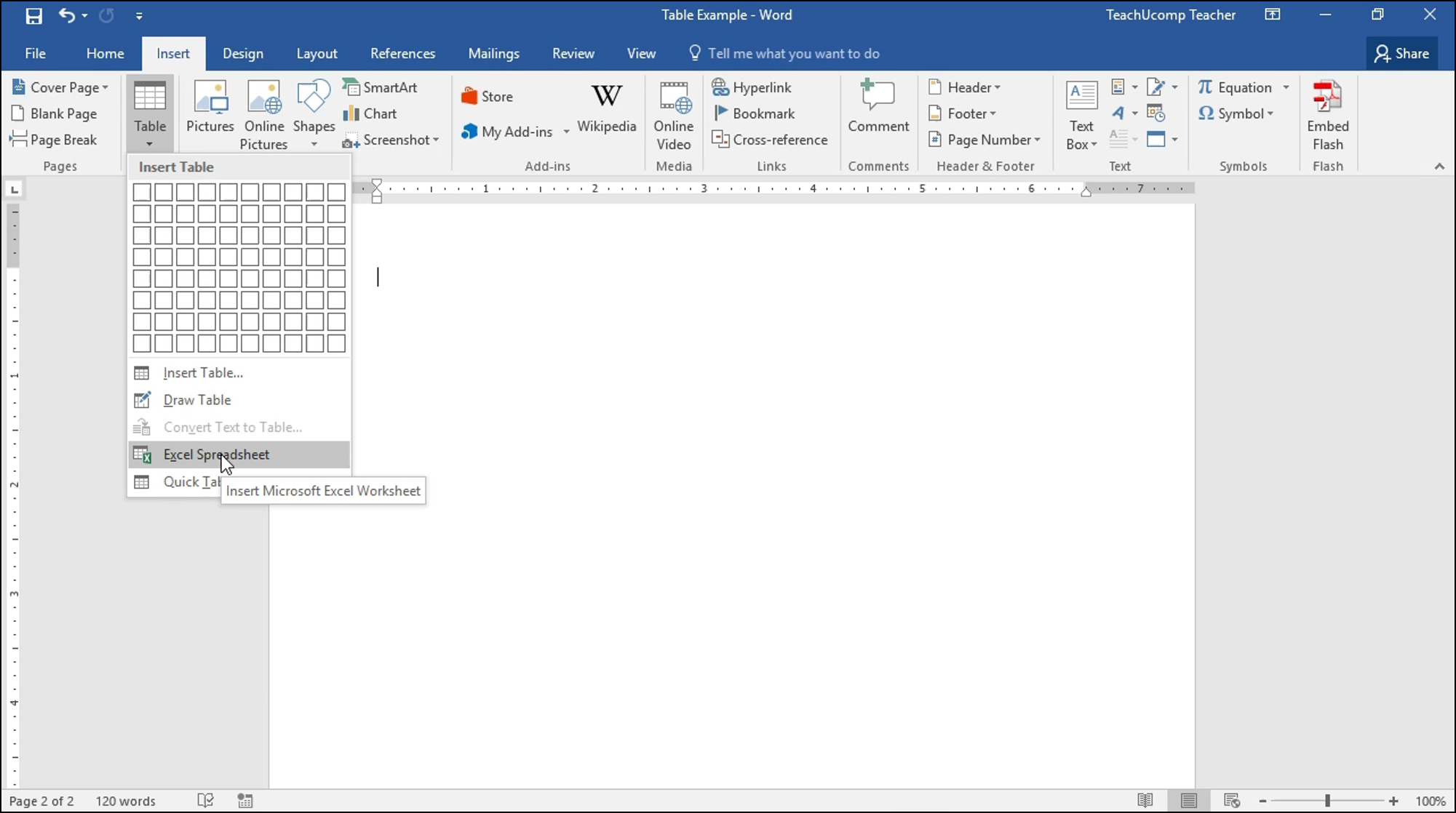 Excel Spreadsheet In Word For Insert An Excel Worksheet