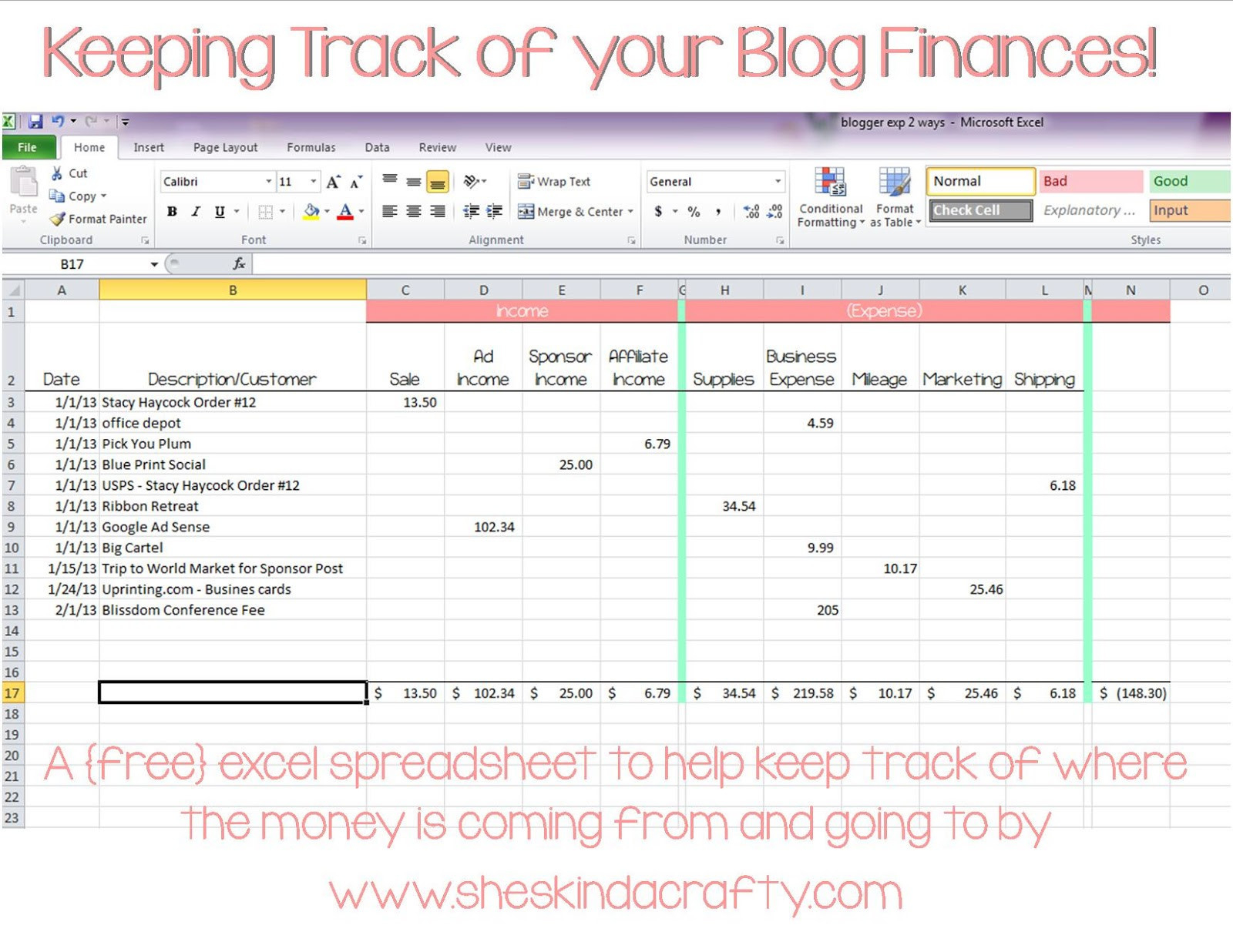 Excel Spreadsheet To Track Business Expenses Throughout