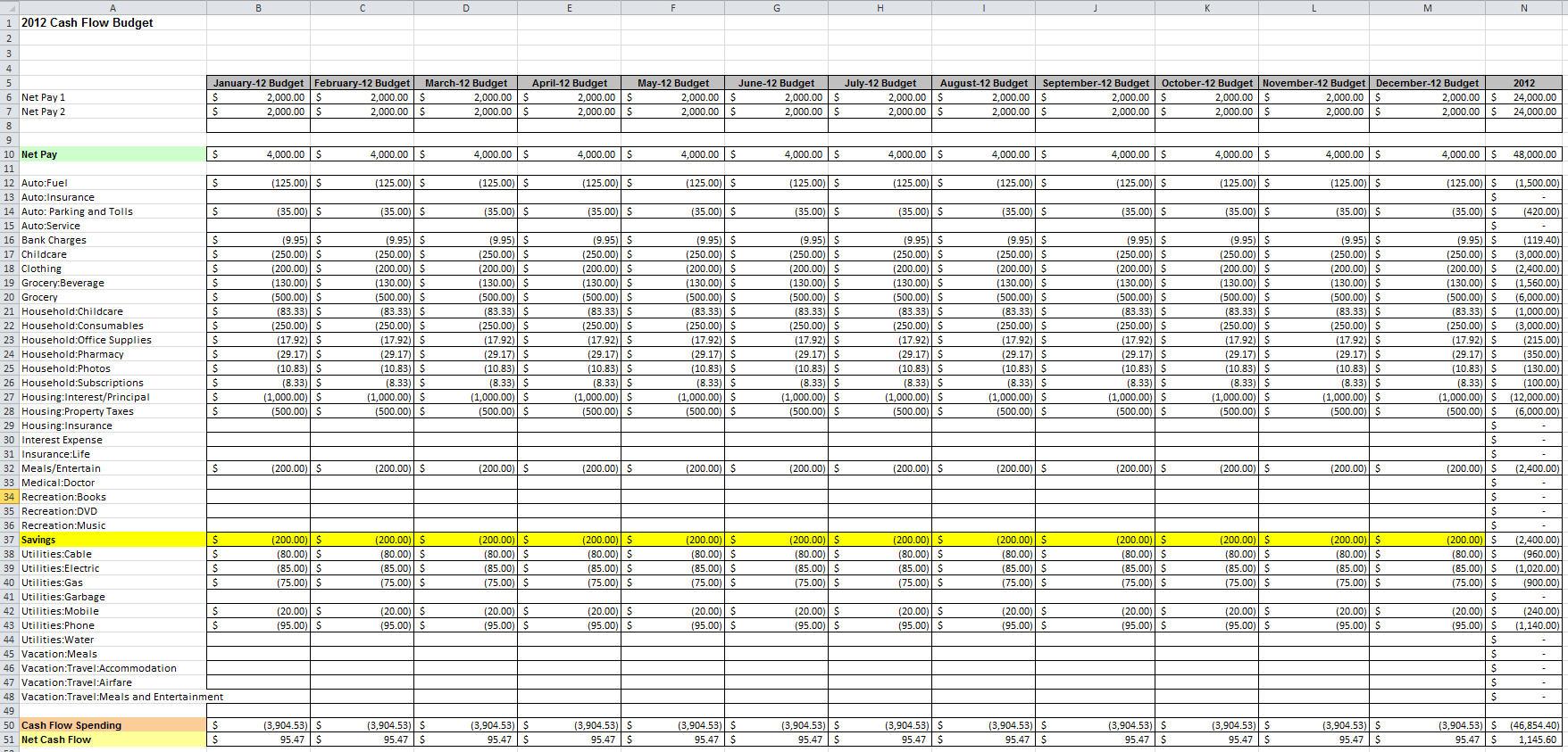 Family Cash Flow Spreadsheet Db Excel