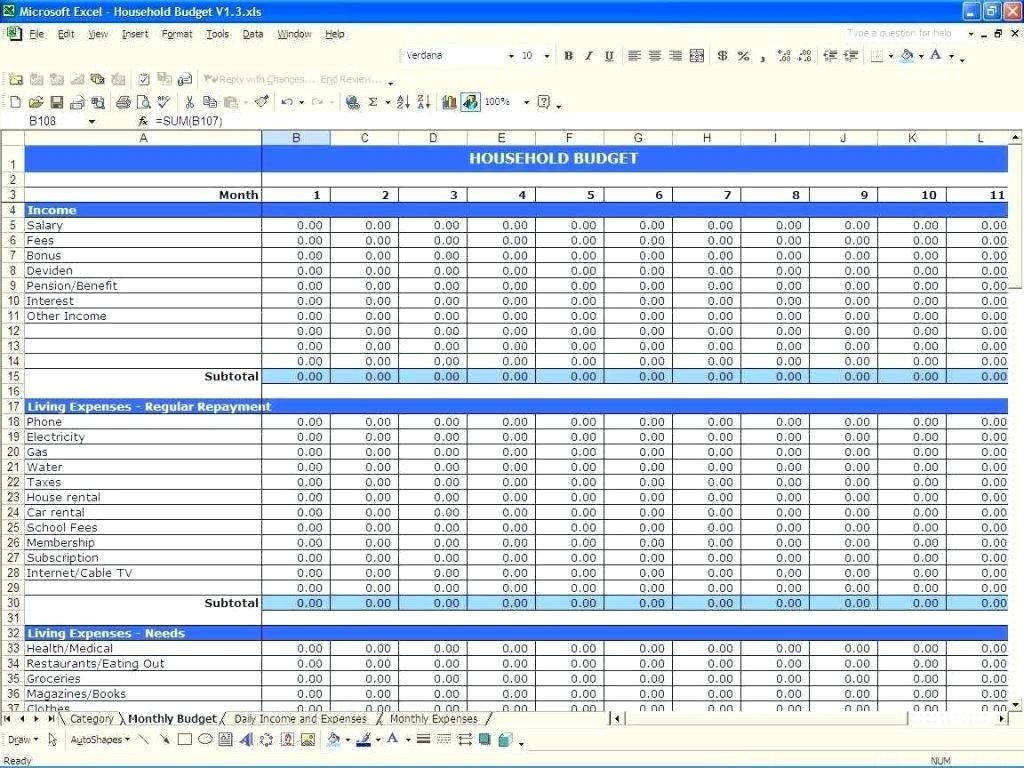 Family Expenses Spreadsheet Pertaining To Budget Worksheet