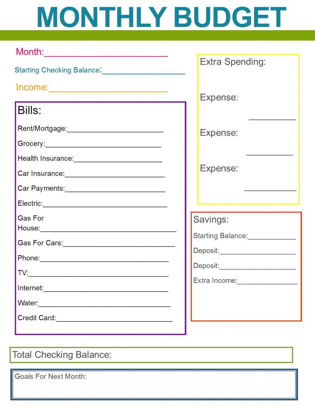 Family Monthly Expenses Spreadsheet Throughout Family