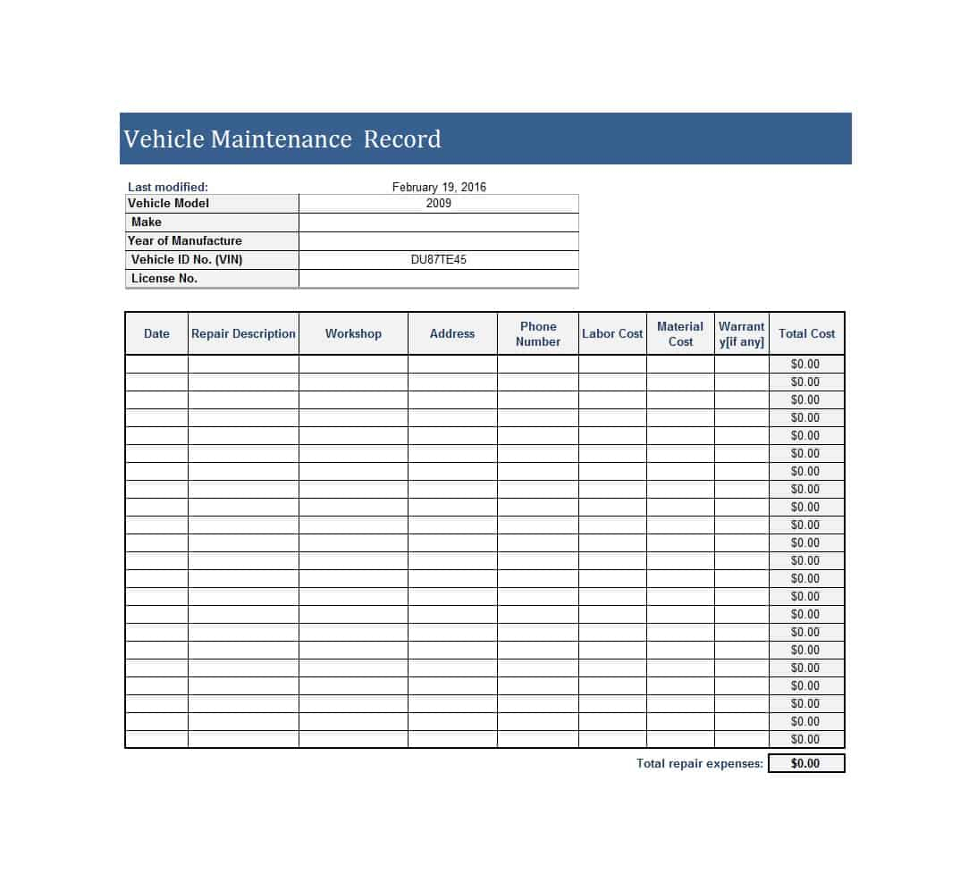 Fleet Maintenance Spreadsheet Template Spreadsheet Downloa