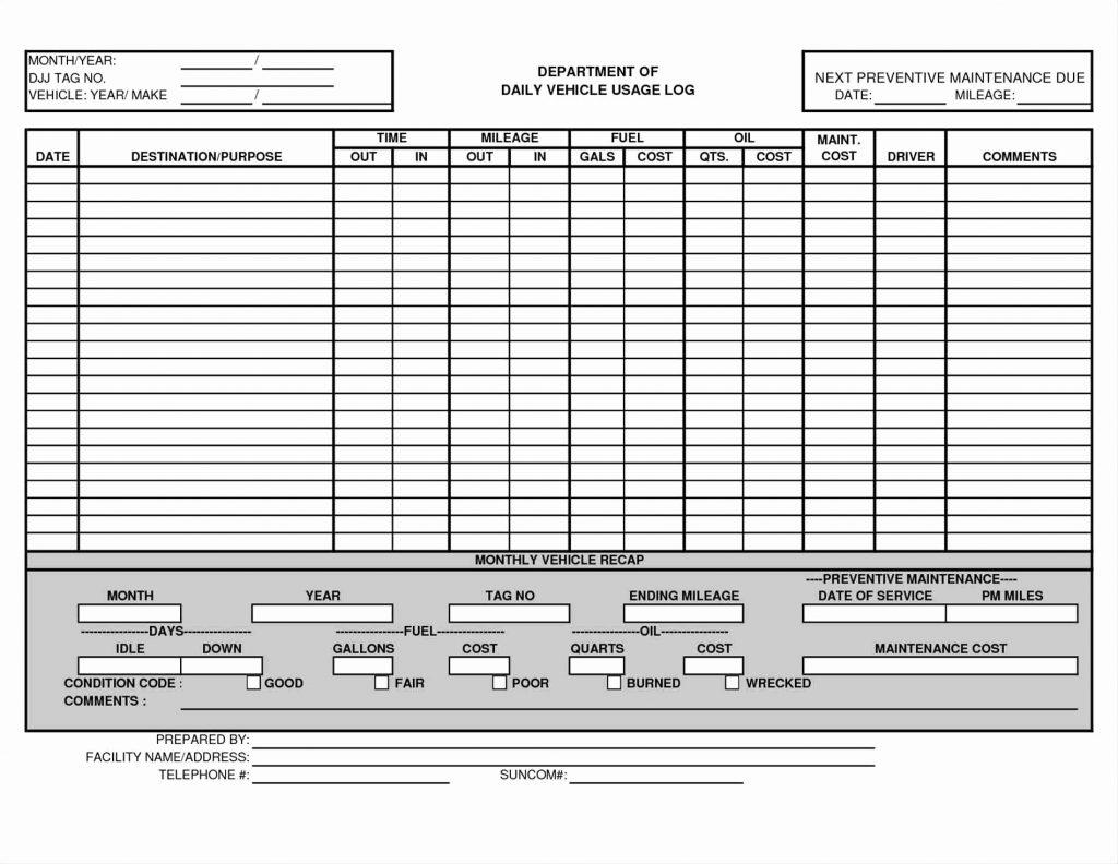 Fleet Maintenance Tracking Spreadsheet