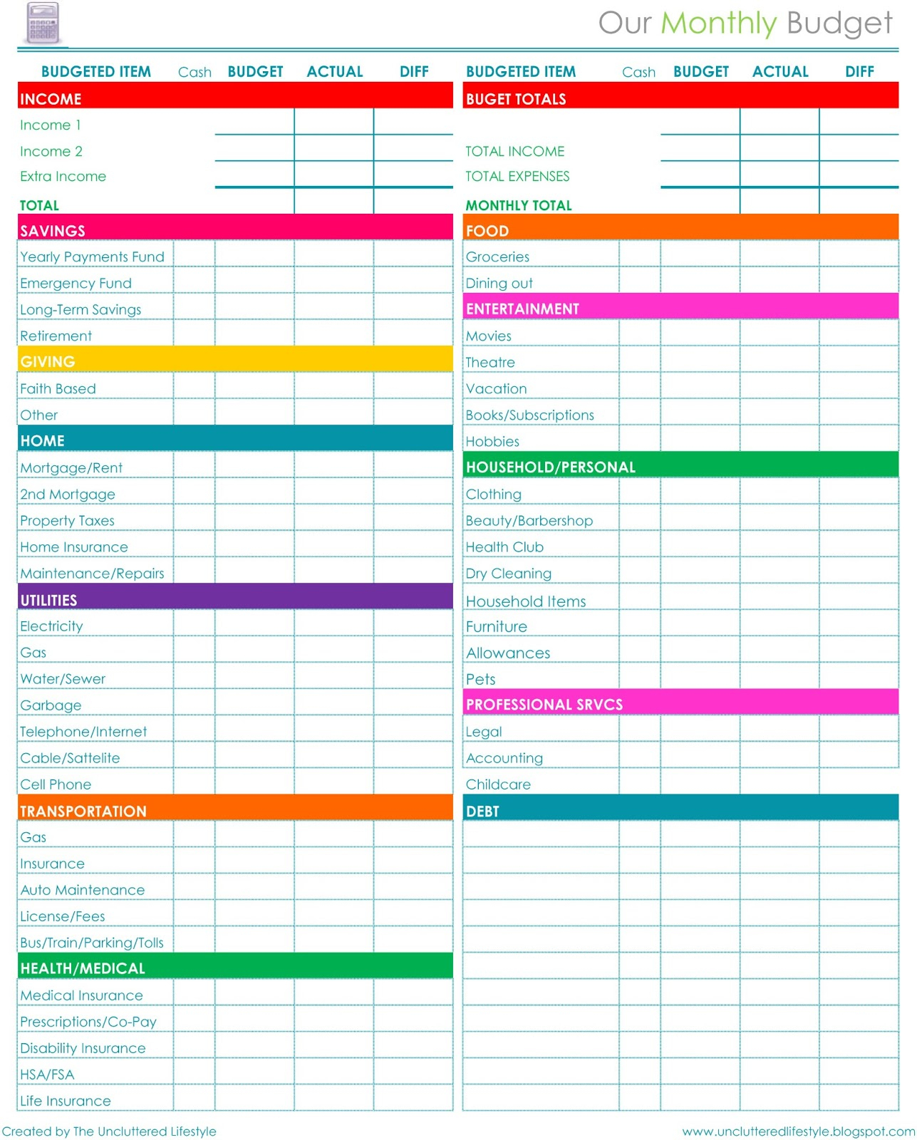 Free Download Household Budget Spreadsheet