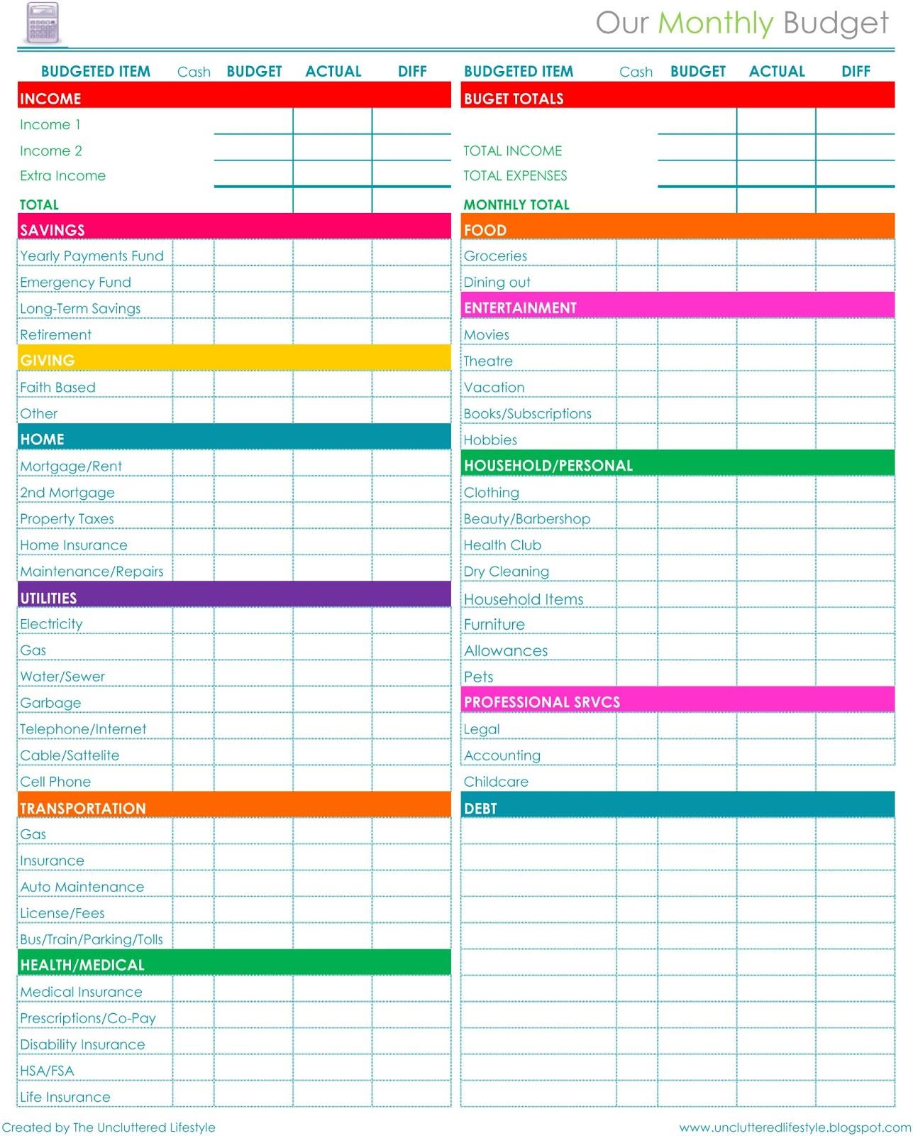 Free Download Household Budget Spreadsheet Spreadsheet