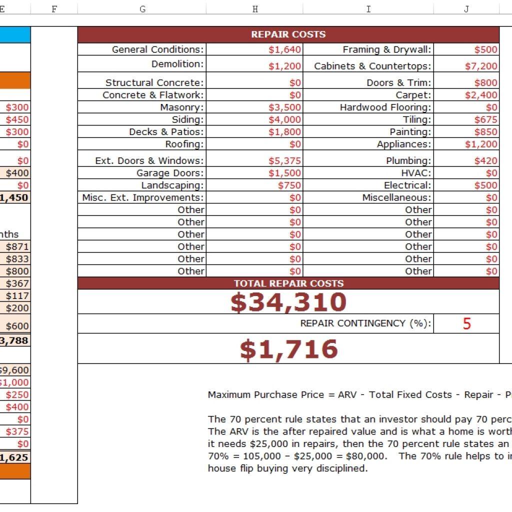 Free House Flipping Excel Spreadsheet In Fixnflip Rehab