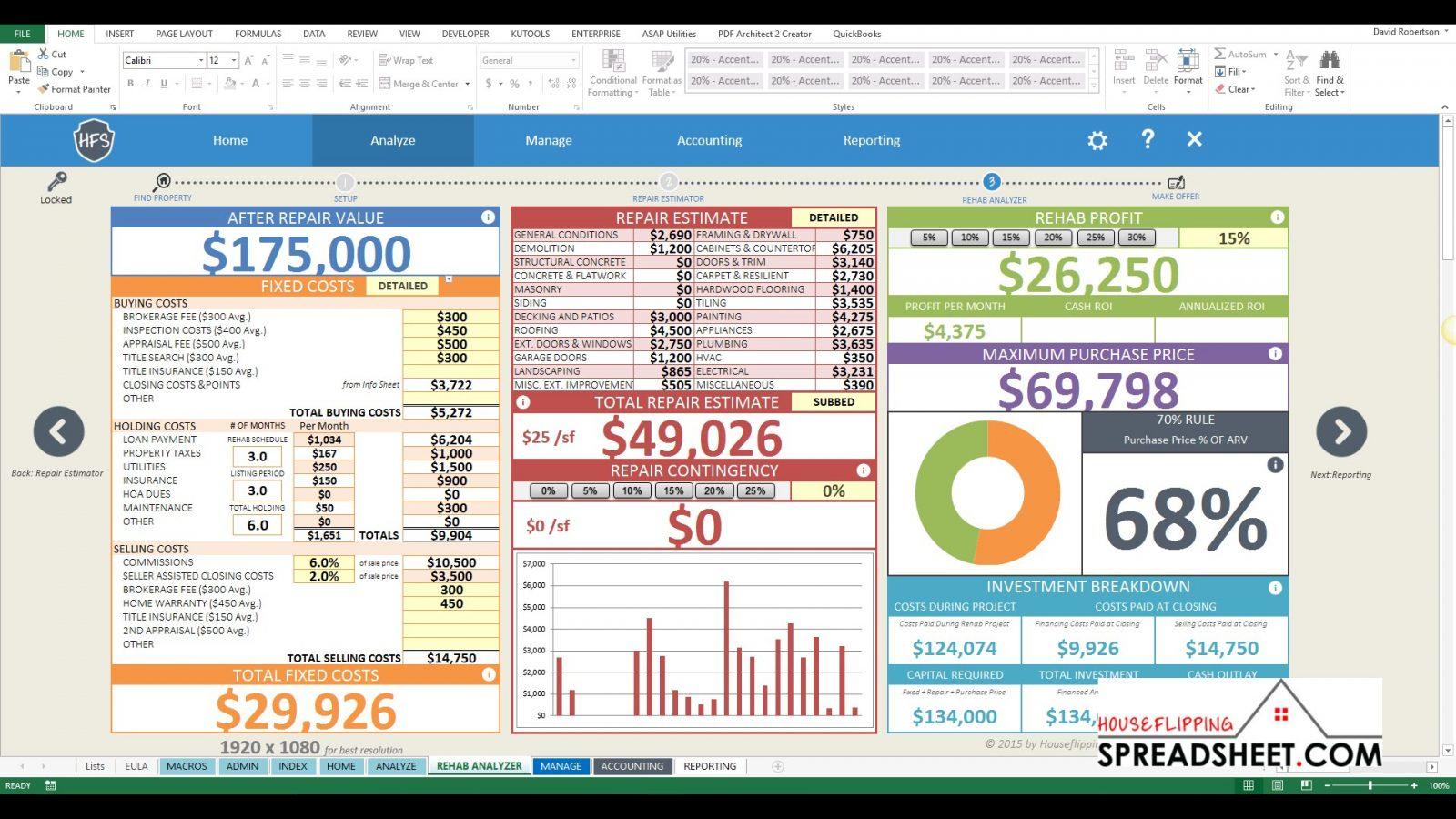 Free House Flipping Spreadsheet Template Regarding Example