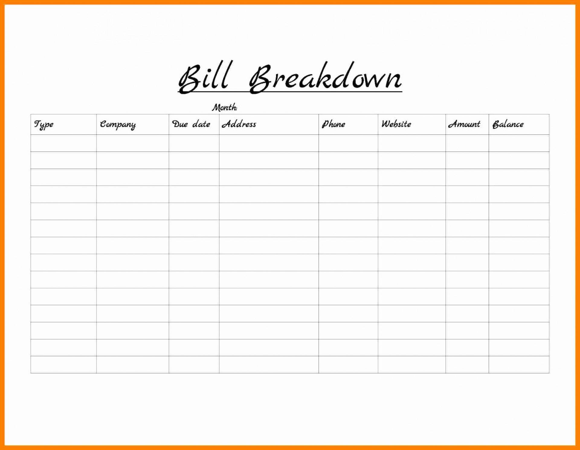 Free Monthly Bill Organizer Spreadsheet Within 009 Bill