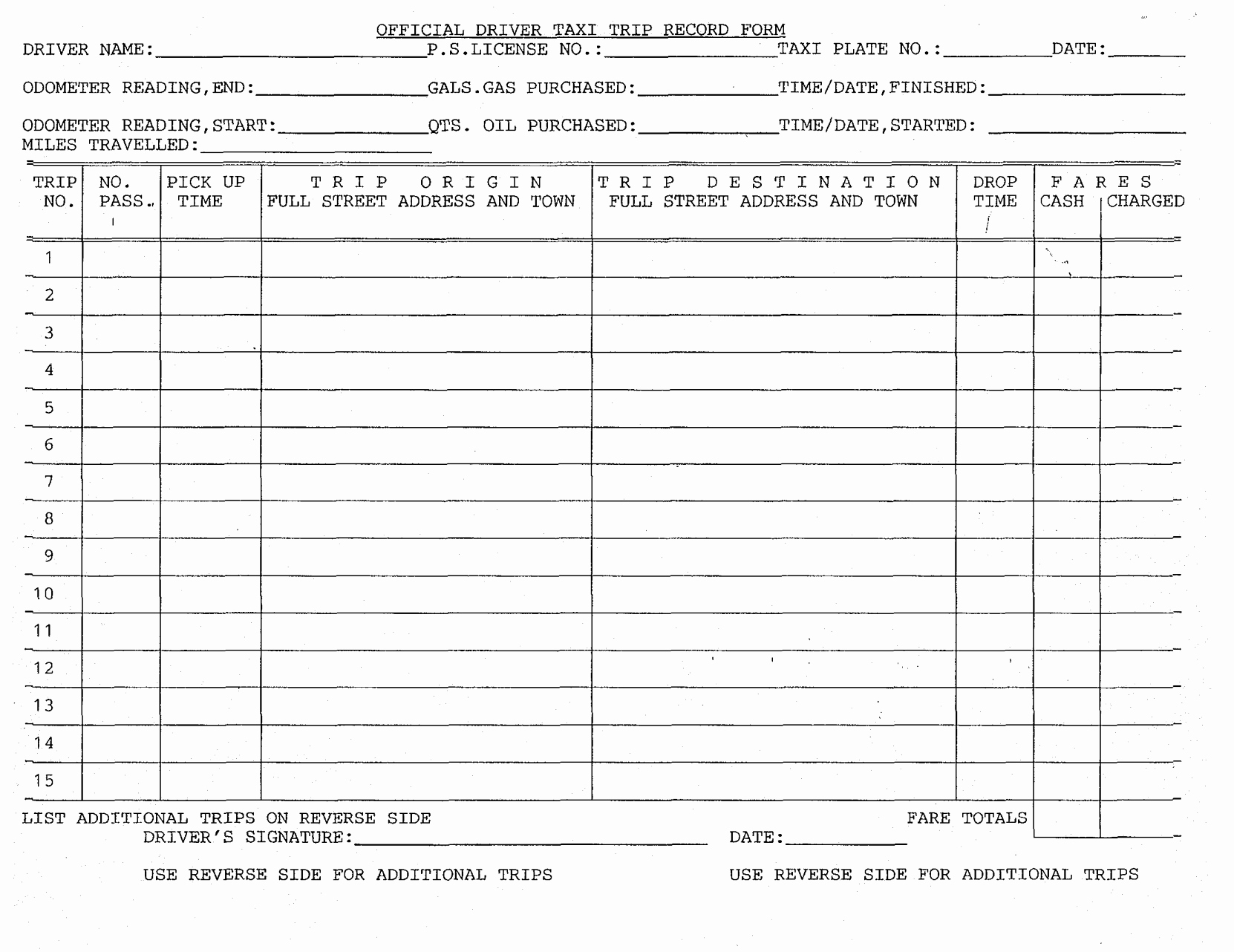 Taxi Driver Log Worksheet