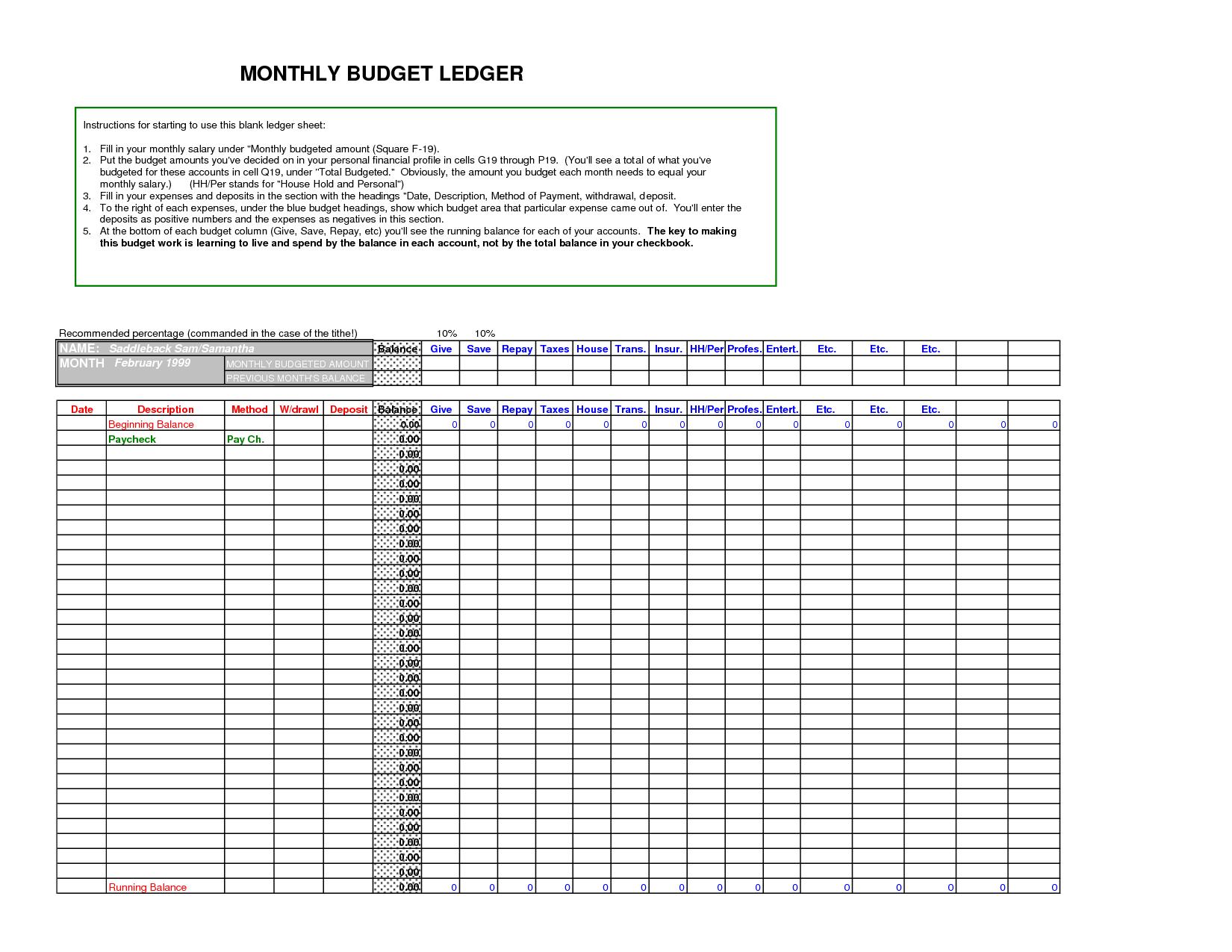 General Ledger Spreadsheet Template Excel