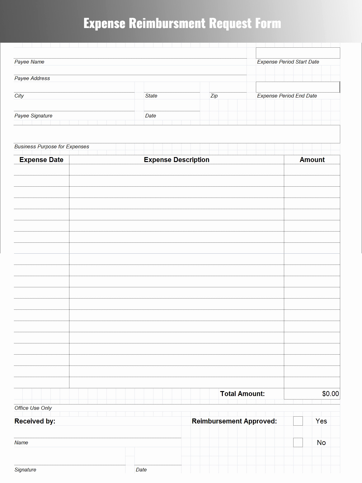 Generic Spreadsheet Intended For Itemized Expense Report