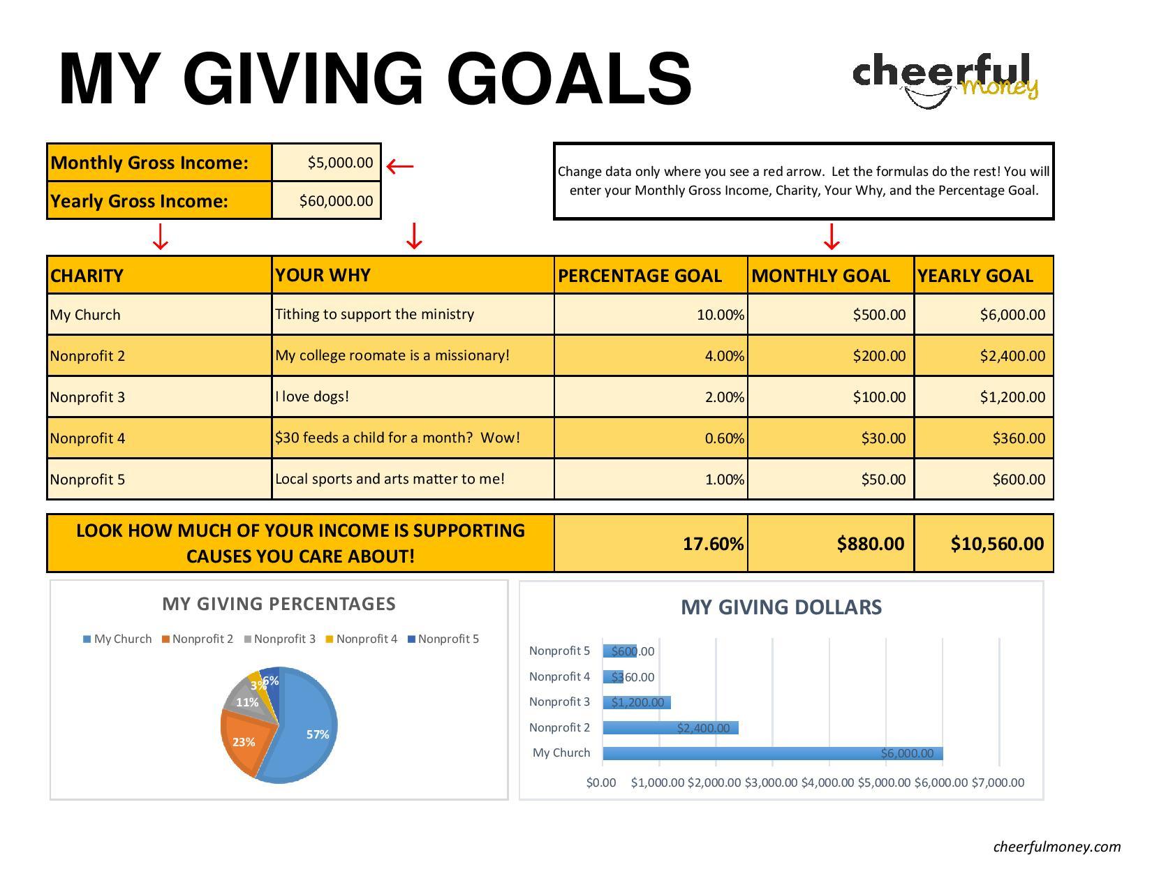 Goals Spreadsheet Printable Spreadshee Life Goals