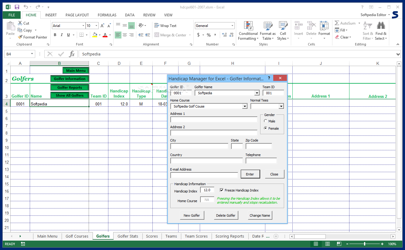 Golf Handicap Spreadsheet Free Regarding Download Handicap