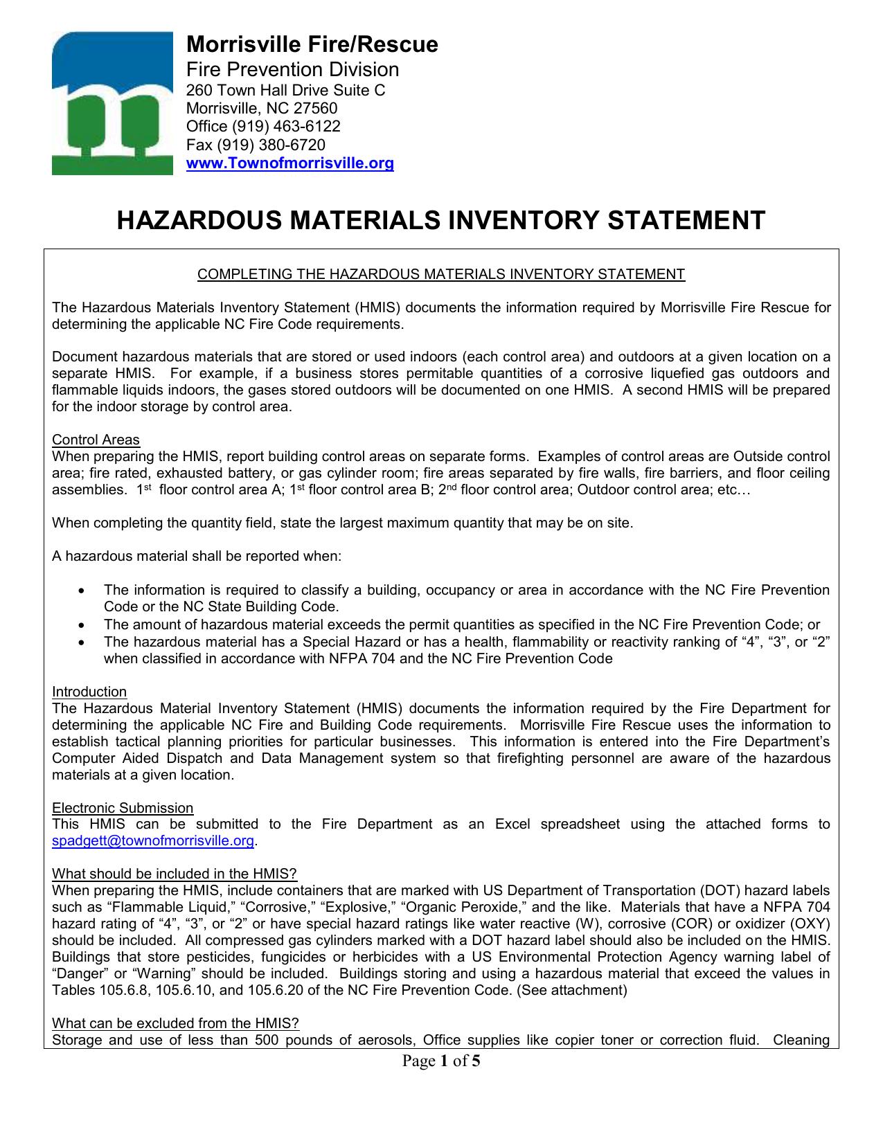 Hazardous Material Inventory Spreadsheet Inside Hazardous